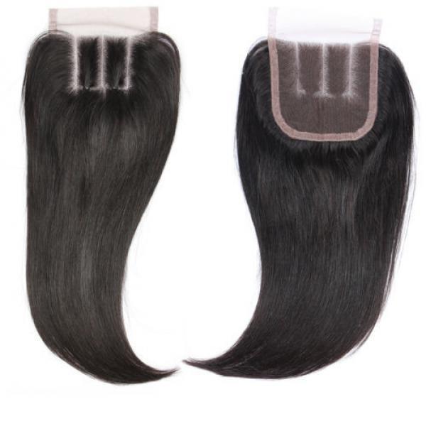 "4""x4"" Peruvian 8A Virgin Remy Human Hair Unprocessed Silk Straight Lace Closure #5 image"