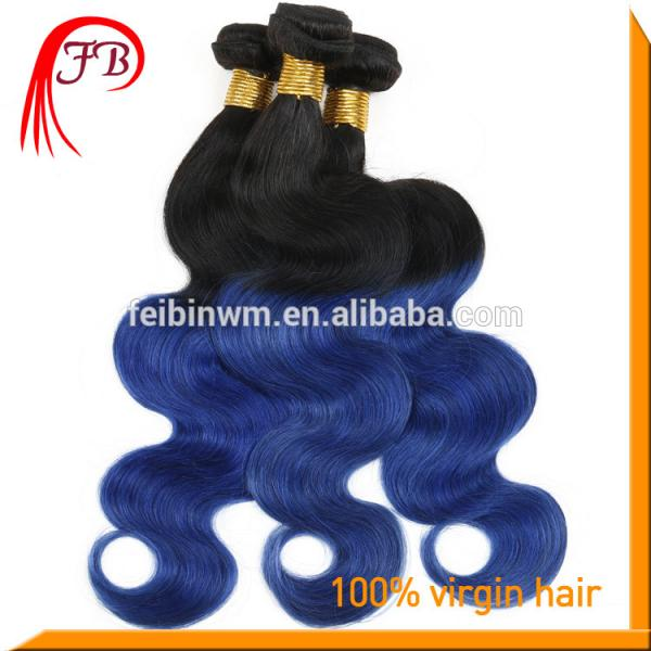 wholesale ombre human hair extension body wave fashion 1b blue hair #2 image