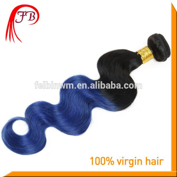 wholesale ombre human hair extension body wave fashion 1b blue hair #4 image