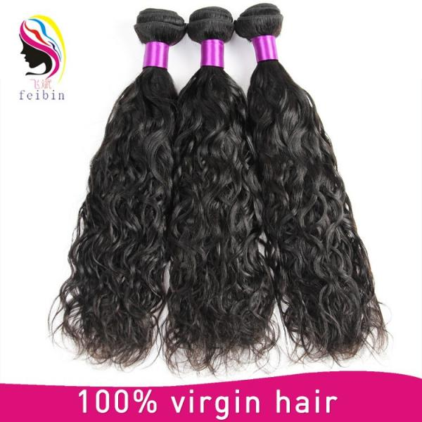 brazilian human hair weave natural wave hair extension #1 image